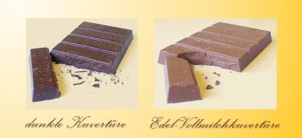 Chocolate couverture, dark and Superior whole milk chocolate couverture
