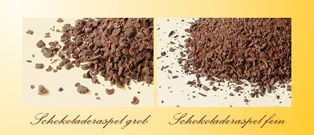 Rough-grated and fine grated plain chocolate